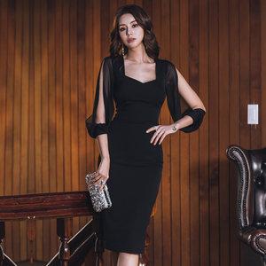 夜店女装2019春装性感方领低胸网纱透视包臀连衣裙修身显瘦女人味