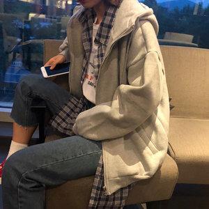 2019新款<span class=H>卫衣</span>女连帽春秋慵懒风bf长袖中长款开衫外套韩版纯色上衣
