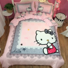 Pure Cotton Katie Cat Hello Kitty Bed Sheet KT Cat All Cotton Princess Wind Four-piece Cartoon Bed for Children