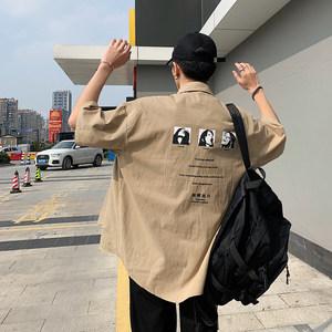 @纨酷派 男士<span class=H>衬衫</span>短袖夏季2019新款韩版潮流宽松印花百搭打底衬衣