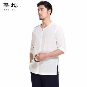 某地中国风男装夏季宽松亚麻短袖t恤V领<span class=H>衬衫</span>男复古薄棉麻男士半袖