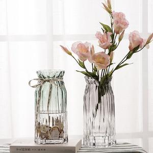 欧式竖棱玻璃花瓶 客厅彩色透明花瓶 酒店创意<span class=H>干花</span>富贵竹插花摆件
