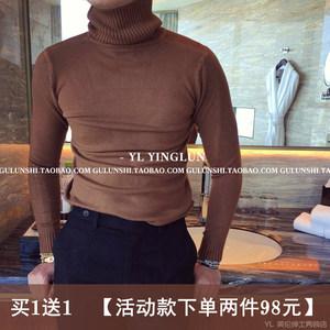 冬季新品男士高领<span class=H>毛衣</span>男韩国纯色打底毛衫保暖青年韩版针织衫潮流