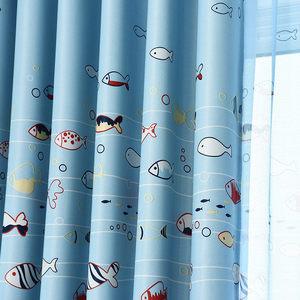 新款小鱼印花窗帘全遮光儿童卡通<span class=H>窗帘布</span>料成品定制包邮男孩