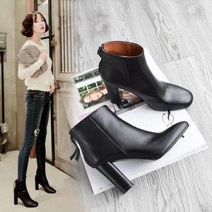 真皮<span class=H>短靴</span>女2018新款靴子粗跟小圆头高跟鞋皮面头层牛皮后拉链裸靴