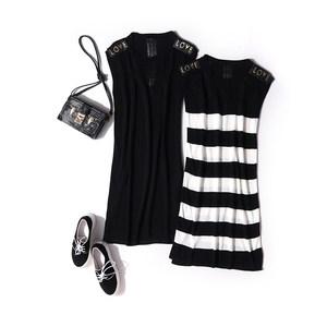 新款连衣裙薄针织打底裙子女  字母修身中长款无袖弹力裙<span class=H>背心裙</span>夏