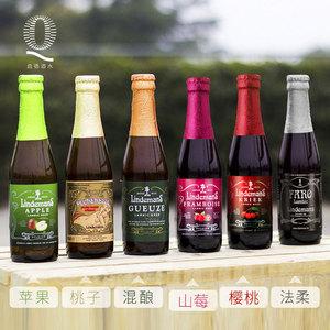 比利时进口 林德曼苹果/法柔/山莓/混酿/桃子/樱桃果味<span class=H>啤酒</span>6瓶