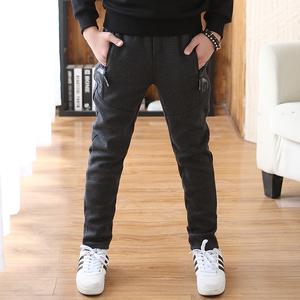 韩版冬季男童中大童加绒加厚长裤子12-15岁<span class=H>儿童</span>休闲<span class=H>运动裤</span>一体绒