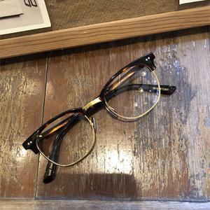 余文乐近视眼镜框半框板材纯钛男女架同款眼睛框复古超轻