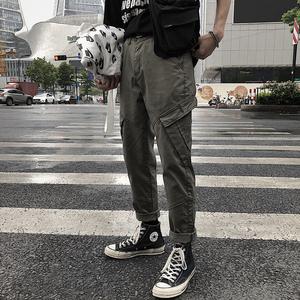 2018秋季新款复古工装口袋休闲裤子潮流宽松小直筒工装裤男士长裤