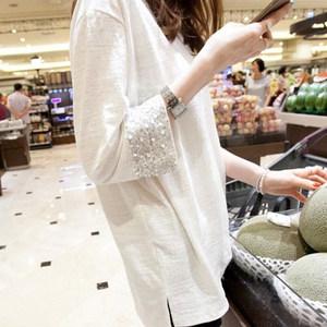 韩版2019春装新款短袖宽松白色女<span class=H>t恤</span>长袖中长款上衣竹节棉打底衫