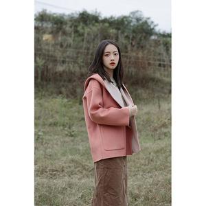 MUU双色双面羊毛呢<span class=H>大衣</span>女短款韩版连帽外套冬复古粉色蓝色