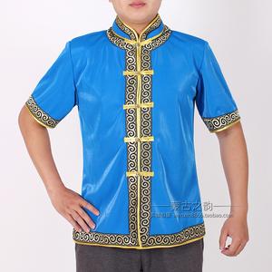 蒙古服装男士夏季短袖日常生活装酒店服务生工服装半袖上衣蒙古袍