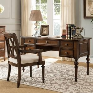 美式乡村实木书桌欧式电脑桌办公桌写字台书房家具书桌椅书柜组合