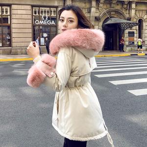 <span class=H>羽绒服</span>女短款2018新款派克服袖口大毛领时尚收腰小个子冬季外套