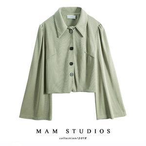 春装2019新款喇叭袖上衣女韩版女针织短款chic时尚纯色显瘦外套