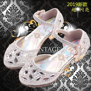 女童灰姑娘水晶鞋水钻<span class=H>皮鞋</span>白色儿童公主包头凉鞋舞蹈演出<span class=H>高跟鞋</span>