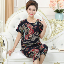 Middle-aged and old pajamas women Xia Chun silk short-sleeved mothers can wear thin slub cotton large-size household suits