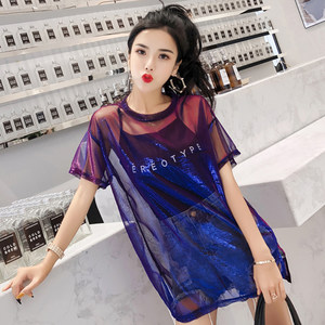 2019夏季新款时尚休闲亮丝网纱中长款<span class=H>上衣</span>吊带两件套短袖T恤女