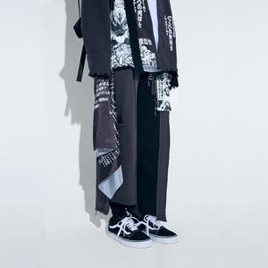 RUFFER LAB 2019S/S 人像涂鸦撞色解构拼接宽松直筒<span class=H>棉裤</span>阔腿裤