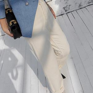 Z老板 秋季新品白色粗斜纹纯棉牛仔裤女 直筒修身棉布<span class=H>休闲裤</span>