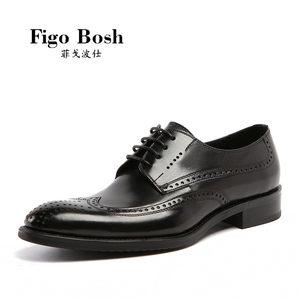 轻奢品Figobosh 新品夏季真皮洛克雕花皮鞋英伦系带商务尖头<span class=H>男鞋</span>