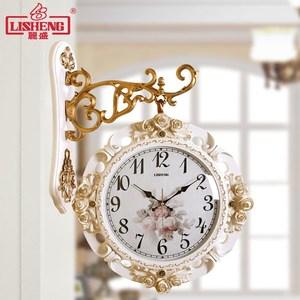 丽盛欧式双面挂钟客厅静音两面<span class=H>挂表</span>创意时钟田园现代简约家用钟表