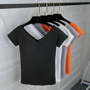 夏季大v领t恤女韩版双V领露背紧身短袖纯白色中袖<span class=H>上衣</span>体恤打底衫