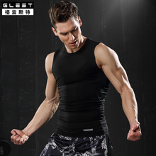 Sports vest men's short sleeve stretch underclothes basketball training sleeveless T-shirt fitness running tight speed dry clothes