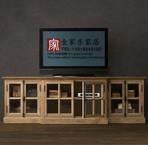 法式出口欧洲复古家具 经典美式 天地锁玻璃六开门 橡木电视机柜