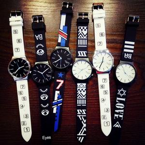 韩国潮男时尚创意个性<span class=H>手表</span>女学生韩版极简约情侣一对石英exo潮表