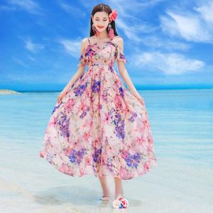 2017夏季新款女装<span class=H>吊带</span>露肩雪纺<span class=H>连衣裙</span>波西米亚长裙海边度假沙滩裙