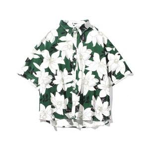 ins超火夏威夷海边度假沙滩短袖衬衫男女情侣原宿BF风花卉<span class=H>衬衣</span>潮