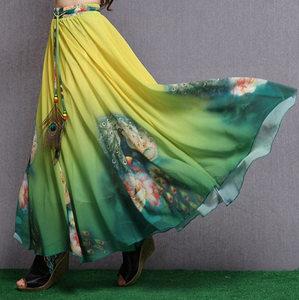 夏季新款裙子女水墨印花雪纺<span class=H>半身裙</span>沙滩大摆裙复古民族风长裙碎花