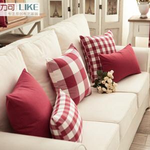 日式沙发靠背靠垫<span class=H>抱枕</span>靠枕腰靠不含芯棉质北欧简约纯色格子樱桃红