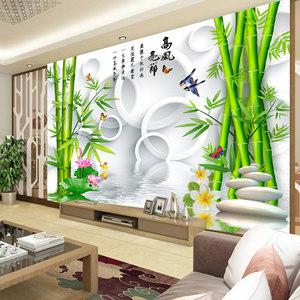 3D立体壁纸中式荷花<span class=H>竹子</span>山水风景<span class=H>电视</span>背景<span class=H>墙纸</span>壁纸客厅影视墙壁画