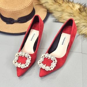 2018新款水钻<span class=H>女鞋</span>红色高跟鞋新娘鞋结婚<span class=H>鞋子</span>尖头低跟鞋女细跟3cm