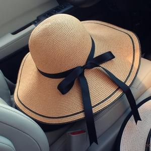 夏季遮阳大沿草帽女小清新韩版休闲百搭可折叠帽子夏天沙滩太阳帽