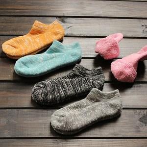 毛巾底加厚<span class=H>短袜</span>潮女士保暖冬天加绒袜子复古粗毛线纯棉袜冬季船袜