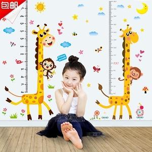 儿童房背景装饰可爱动物测量身高贴 幼儿园走廊卡通长颈鹿<span class=H>墙贴</span>画