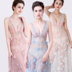 性感透明装网纱蕾丝V领女装修身包臀夜场长款演出晚礼服车模长裙