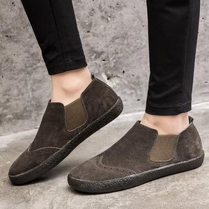 冬季潮<span class=H>鞋</span>低帮懒人<span class=H>鞋</span>复古反绒皮<span class=H>男鞋</span>真皮英伦休闲<span class=H>鞋子</span>男士翻毛皮<span class=H>鞋</span>