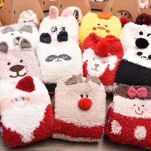女<span class=H>袜子</span>地板袜秋冬加厚珊瑚绒半边绒睡眠袜中筒可爱毛巾袜圣诞礼盒