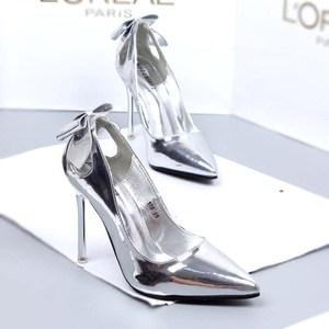 <span class=H>银色</span>漆皮<span class=H>蝴蝶结</span>高跟鞋女细跟尖头鞋10cm<span class=H>女鞋</span>浅口性感镂空百搭单鞋