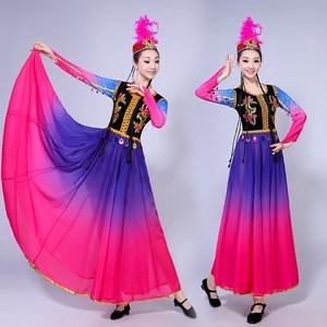 新款新疆维吾尔族舞蹈<span class=H>演出服</span>装女少数民族舞台演出饰开场舞<span class=H>大摆裙</span>