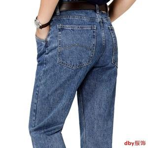 直筒宽松经典苹果牛仔裤男正品高腰深裆<span class=H>男裤</span>纯棉款中老年男装裤子