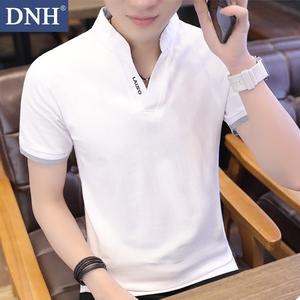 新款男士短袖t恤<span class=H>男装</span>夏装大码衣服纯棉夏季修身v领体恤衫青年潮流