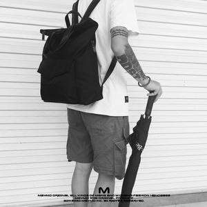 原创设计极简潮流纯色防水尼龙多功能手提包百搭学院风双肩<span class=H>背包</span>男