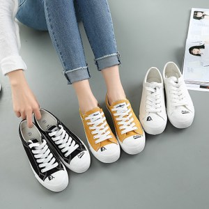 ulzzang鞋黑色<span class=H>帆布鞋</span>春季女2017新款系带百搭小白鞋韩版布鞋平底