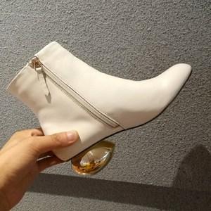 英伦风冬米白色方头真皮女靴马丁靴加绒短靴网红侧拉链<span class=H>裸靴</span>高跟靴